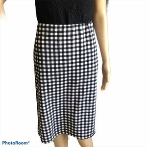 F&M Collection Black and White Checkered Skirt